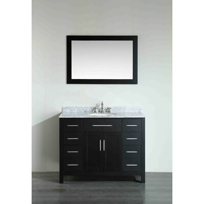 43.3 Single Bathroom Vanity Set with Mirror Base Finish: Black