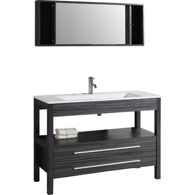 Contemporary 48 Single Bathroom Vanity Set with Mirror