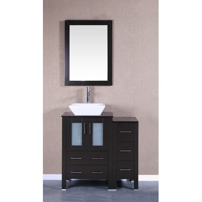 36 Single Vanity Set with Mirror Base Finish: Espresso