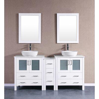 72 Double Vanity Set with Mirror Base Finish: White