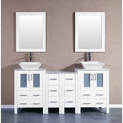 72 Double Vanity Set with Mirror Base Finish: White