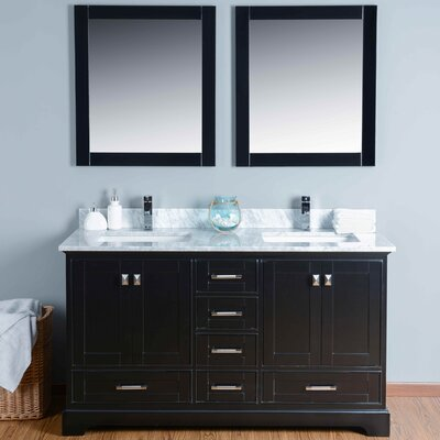 60 Double Bathroom Vanity Set with Mirror Base Finish: Black