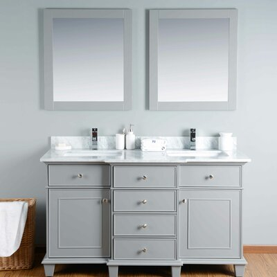 60 Double Bathroom Vanity Set with Mirror Base Finish: Gray
