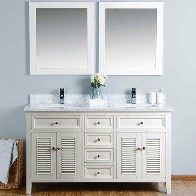 60 Double Bathroom Vanity Set with Mirror Base Finish: Ivory