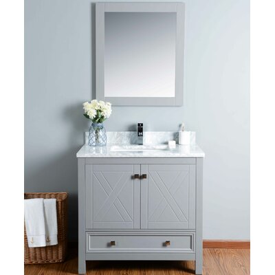 36 Single Bathroom Vanity Set with Mirror Base Finish: Gray