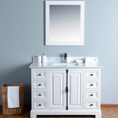 48 Single Bathroom Vanity Set with Mirror Base Finish: White