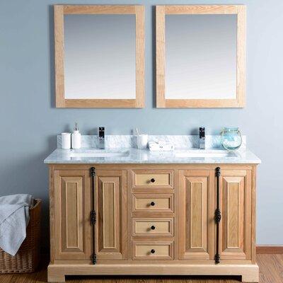 60 Double Bathroom Vanity Set with Mirror Base Finish: Oak