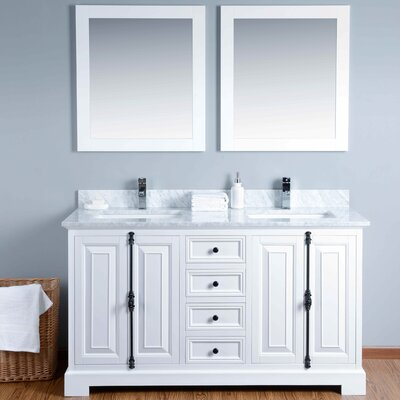 60 Double Bathroom Vanity Set with Mirror Base Finish: White