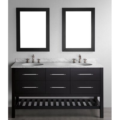 Cockrell 60 Double Bathroom Vanity Set with Mirror Base Finish: Black