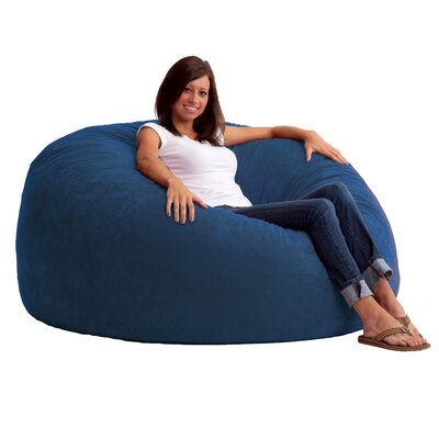 Fuf 4.5 Feet Media Foam Filled Chair Upholstery: Comfort Suede Blue Sky