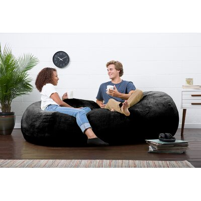 Big Joe Lux Bean Bag Sofa Upholstery: Black