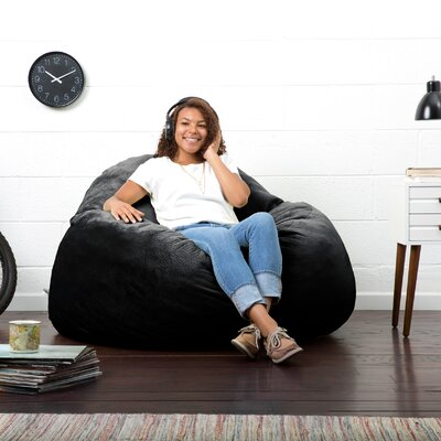 Big Joe Lux Bean Bag Chair Upholstery: Black