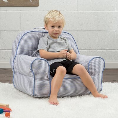 Big Joe Junior Gingham Bean Bag Chair Upholstery: Blue