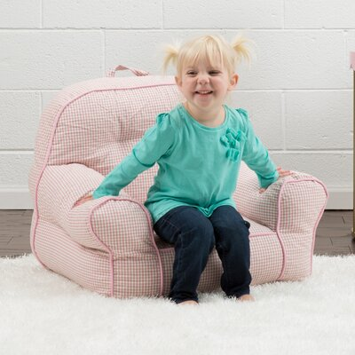 Big Joe Junior Gingham Bean Bag Chair Upholstery: Pink