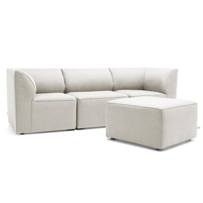 Big Joe Lux 4 Piece Sectional Set Fabric: Silver