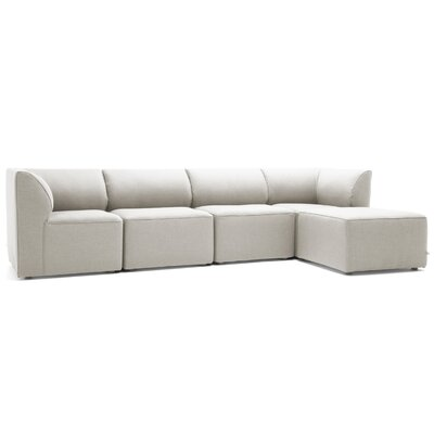 Big Joe Lux 5 Piece Sectional Set Fabric: Silver