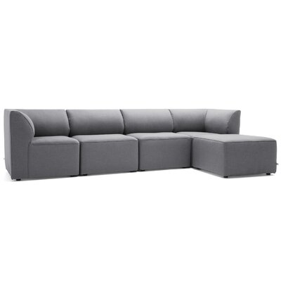 Big Joe Lux 5 Piece Sectional Set Fabric: Slate