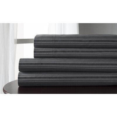 3 Piece 300 Thread Count 100% Cotton Sheet Set Size: Queen, Color: Charcoal