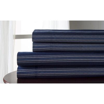 3 Piece 300 Thread Count 100% Cotton Sheet Set Size: King, Color: Navy