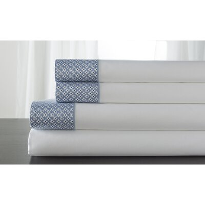 Adara 400 Thread Count 100% Cotton Sheet Set Color: Blue, Size: Queen