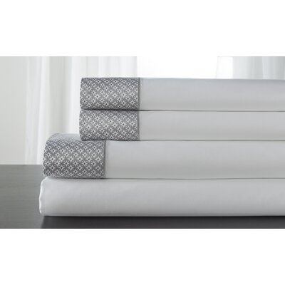 Adara 400 Thread Count 100% Cotton Sheet Set Color: Alloy, Size: California King