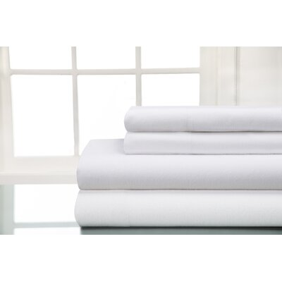 100% Cotton Sheet Sets Size: Twin, Color: White