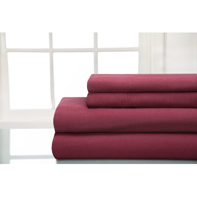 100% Cotton Sheet Sets Size: King, Color: Wine