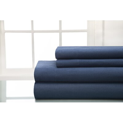 Flannel Sheet Set Size: Queen, Color: Indigo