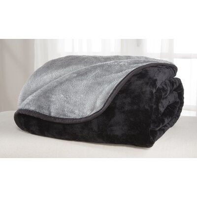 All Seasons Reversible Plush Blanket Size: Twin, Color: Black/Gray