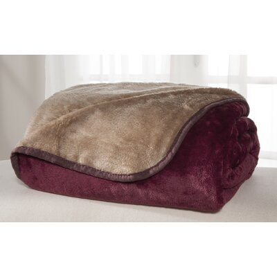 All Seasons Reversible Plush Blanket Size: Twin, Color: Burgundy/Tan