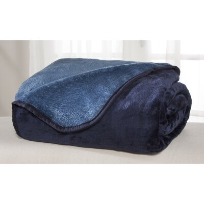 All Seasons Reversible Plush Blanket Color: Blue, Size: King