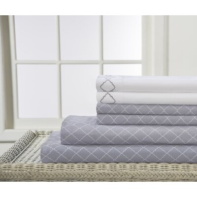 Revina Print/Embroidered Bonus Sheet Set Color: Gray, Size: King