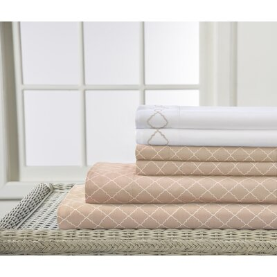 Revina Print/Embroidered Bonus Sheet Set Size: King, Color: Oat