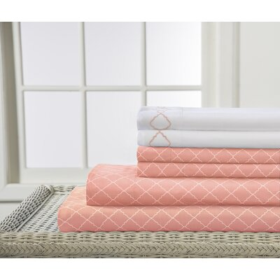Revina Print/Embroidered Bonus Sheet Set Color: Apricot, Size: King
