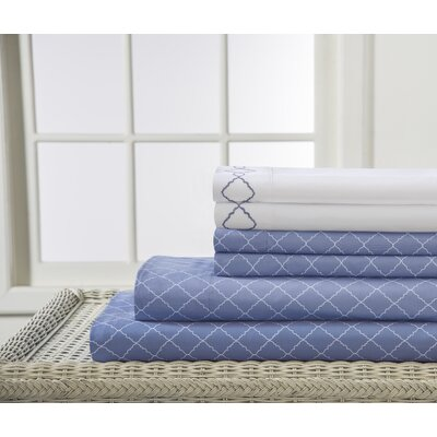 Revina Print/Embroidered Bonus Sheet Set Color: Denim, Size: Queen