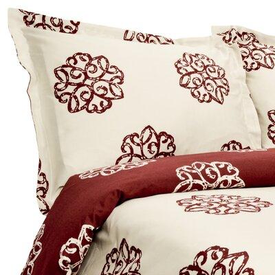 Milena Reversible Duvet Set Color: Crimson / Ivory, Size: King