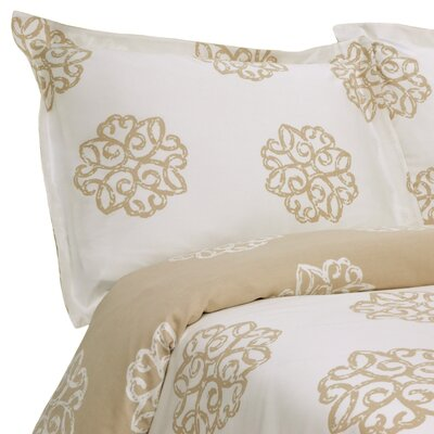 Milena Reversible Duvet Set Size: Twin, Color: Taupe / Ivory