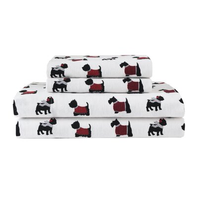 Winter Nights Dogs 100% Cotton Flannel Sheet Set Size: Full