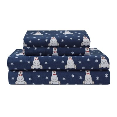 Winter Nights Bears 100% Cotton Flannel Sheet Set Size: Queen
