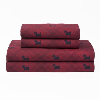 Rockdale Westie Dog Plaid Polyester Sheet Set Size: Twin