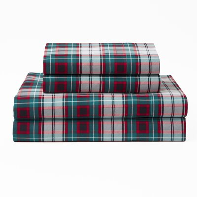 Mischlich Xmas Plaid Polyester Sheet Set Size: Queen