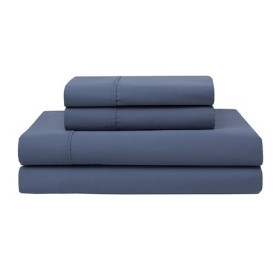 Oskar Wrinkle Free 420 Thread Count 100% Cotton Sheet Set Color: Denim, Size: Full