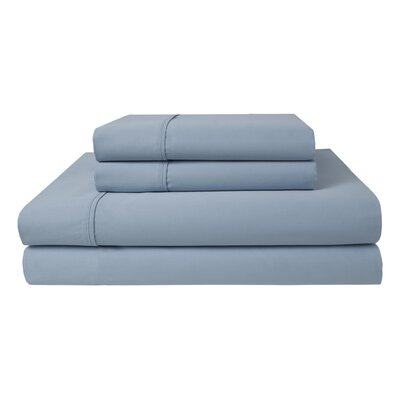 Duanesburg 300 Thread Count 100% Cotton Sheet Set Size: King, Color: Ice Blue