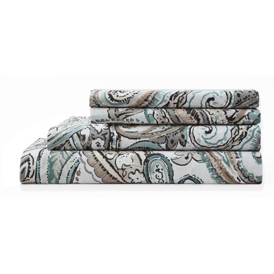 Lemont 300 TC Cotton Print Sheet Set Size: Queen, Color: Tan
