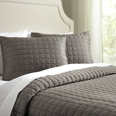 Cary Quilt Set Size: King, Color: Pewter