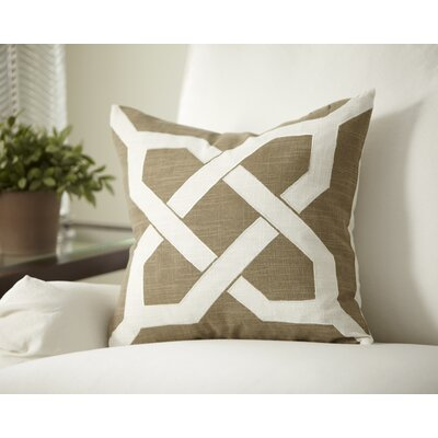 Kira Cotton Pillow Cover Color: Taupe/White