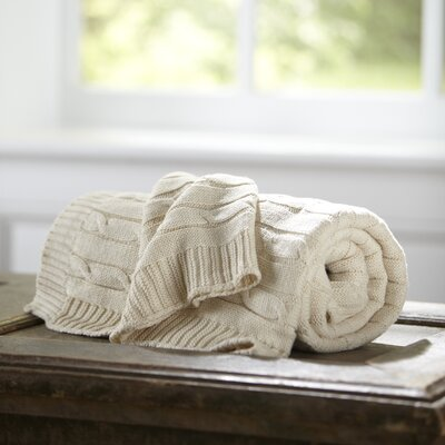 Clara Cable-Knit Throw Color: Cream