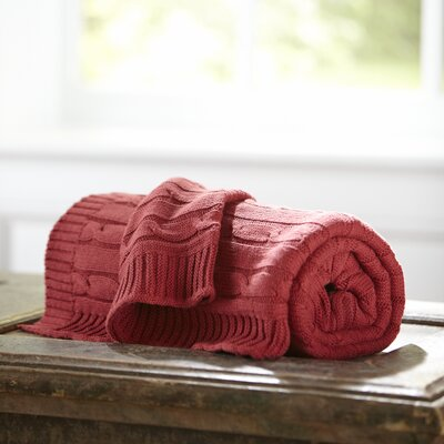 Clara Cable-Knit Throw Color: Red