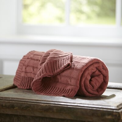 Clara Cable-Knit Throw Color: Brick