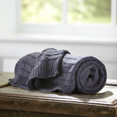 Clara Cable-Knit Throw Color: Pewter